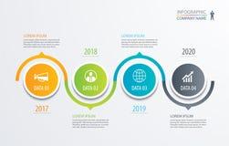 backgrou för affärsidé för mall för timeline för 4 cirkel infographic royaltyfri illustrationer