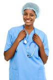 Backgrou femelle de blanc de docteur d'Afro-américain sûr de portrait Photo libre de droits