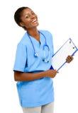 Backgrou femminile afroamericano sicuro di bianco di medico del ritratto Fotografie Stock Libere da Diritti