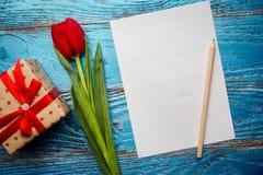 Backgrou mínimo floral da tulipa vermelha de easter do dia da mulher da mãe da mola Imagem de Stock