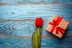 Backgrou mínimo floral da tulipa vermelha de easter do dia da mulher da mãe da mola Fotografia de Stock