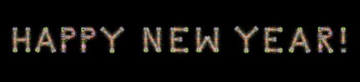 Backgrou negro horizontal de los fuegos artificiales coloridos del texto de la Feliz Año Nuevo Foto de archivo libre de regalías