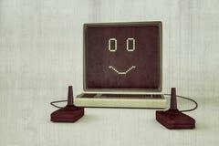 Backgroud aislado ordenador viejo del blanco de OM Imagenes de archivo