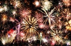 Backgroud del marco de los fuegos artificiales del Año Nuevo Imagenes de archivo