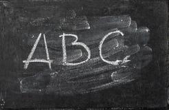 Backgroud lavado textura ABC de la pizarra de la pizarra Imagen de archivo