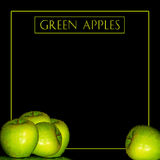Backgroud Wet Green Apples and Text Royalty Free Stock Images