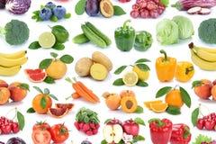 Backgroun апельсина яблока фруктов и овощей изолированное собранием Стоковые Изображения RF