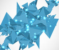 Αφηρημένες μπλε τεχνολογία και ανάπτυξη τριγώνων πλέγματος backgroun Στοκ Εικόνα