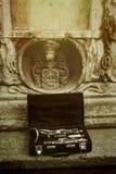 在经典案件的美丽的黑和银色单簧管在backgroun 库存图片