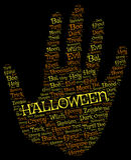 Backgroun de Halloween : paume avec des mots oranges et jaunes sur le noir Photos stock