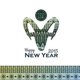 Backgroun decorativo con la cabra Año Nuevo 2015 Fotos de archivo libres de regalías