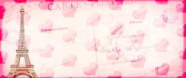 Backgroun do vintage do Valentim do Grunge com torre Eiffel Fotos de Stock