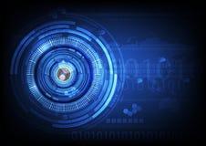 Backgroun futuro cyber di concetto di tecnologia dell'estratto della palla dell'occhio azzurro Fotografia Stock Libera da Diritti