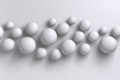 Backgroun geométrico das esferas polígono brilhante abstrato do branco 3D do baixo Imagem de Stock