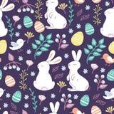 Backgroun inconsútil con las flores, los conejitos, los pájaros, y los huevos de Pascua Imagen de archivo