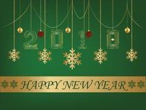 Backgroun verde de la tarjeta de felicitación de la Feliz Año Nuevo 2018 ilustración del vector