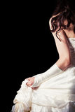 Невеста от задней части против деревянного backgrounbride от backd Стоковое Фото