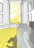 Background 05 old room. Old room background house yellow grey Royalty Free Stock Photo