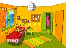 Background 06 teenage room stock illustration