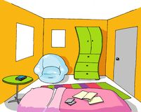Background 07 teenage room. Modern teenage room background house Royalty Free Stock Image