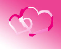Background. Two hearts on pink background Royalty Free Stock Photo