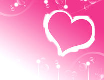 Background. Heart around the bubbles on romantic background Stock Photos