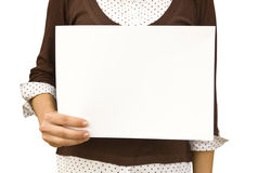 Background. Paper clean sheet in hands in the girl Royalty Free Stock Photos