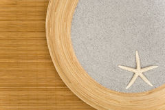 Background. A bowl on a phloem mat Royalty Free Stock Photography