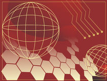 Background. Electrical background. Technology. Illustration in red and yellow colors Stock Images
