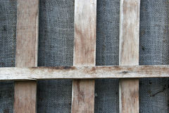 Background. Old wooden fence with linen background Royalty Free Stock Images