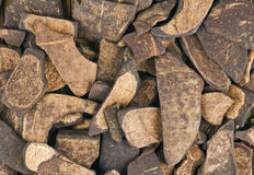 Background. From brown wooden slices stock photography