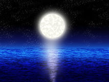 Background. Boundless blue sea with full moon in the night Royalty Free Stock Images