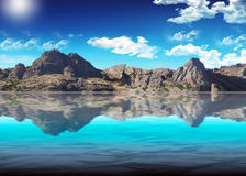 Background. Beautiful kind of mountain Ridge against the blue pure sky Royalty Free Stock Photo