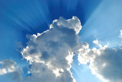 Background. The Big cloud has closed the bright sun on turn blue the sky Stock Image