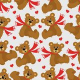 Background. With the bear and hearts Stock Photography