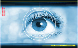 Background. High-tech technology background with targeted eye on computer display Royalty Free Stock Photo