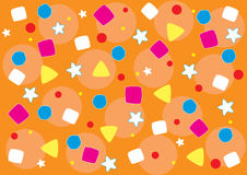 Background. Vector background, children's background, different figures of different colours, orange background Stock Photos