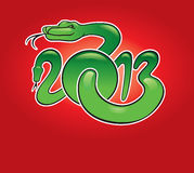 Background 2013 with snake. Red background 2013 with snake Royalty Free Stock Image