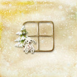 Background. Decorated with window and Xmas tree and a rabbit Stock Photography