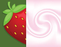 Background. In yoghurt and big fresh strawberry Royalty Free Stock Image