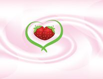 Background. Abstract background of yoghut with two strawberry Stock Photos
