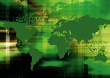 Background. With map of the world and internet terms Stock Photography