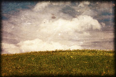Background. Summer meadow and fluffy clouds Stock Photo