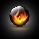 Background. 3D sphere with fire flames inside as vector background Royalty Free Stock Image