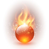 Background. 3D sphere with fire flames as vector background Royalty Free Stock Images