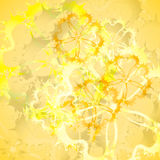 Background. Abstract yellow background with flowers Stock Photo