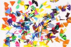 Background. Wastes of shaved color pencils as colorful background Royalty Free Stock Images