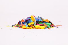 Background. Wastes of shaved color pencils as colorful background Royalty Free Stock Image