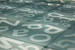 Background. Of glass illuminated letters on the floor Royalty Free Stock Image
