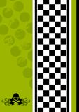 Background. An illustrated background made up of green spots, a strip of black and white checks and a skull and bones vector illustration